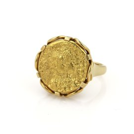 Piaget Salvador Dali 22K Yellow Gold Coin and 18K Yellow Gold Ring Size 6