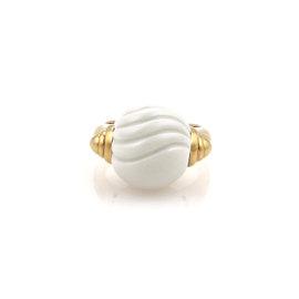 Bulgari Tronchetto 18K Yellow Gold Carved White Ceramic Ball Ring Size 5.5