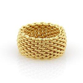 Tiffany & Co. Somerset 18K Yellow Gold Mesh Band Ring Size 8