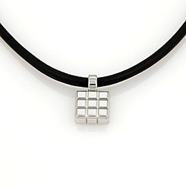 Chopard 18K White Gold & Silk Cord Square Shape Cube Pendant Necklace