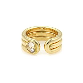 Chopard Happy Diamond 18K Yellow Gold with 0.05ct Diamond Heart Cuff Band Ring Size 5