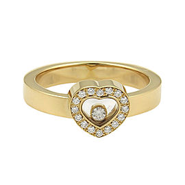 Chopard Happy Diamonds 18K Yellow Gold with 0.20ct Diamonds Heart Ring Size 7.5