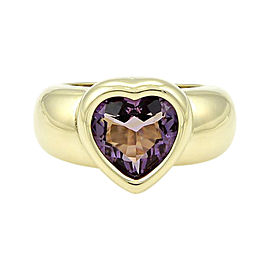 Piaget 18k Yellow Gold 3.50ct Heart Shape Amethyst Solitaire Ring Size 5