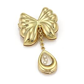 Chopard Happy Diamond 18K Yellow Gold with 0.15ctw 3 Floating Diamond Butterfly Dangle Brooch