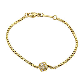 Chopard 18K Yellow Gold with 0.36ct Diamond Cube Charm Box Chain Bracelet
