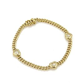 Chopard Happy Diamond 18K Yellow Gold and 0.15ct Diamonds Hearts Charm Chain Bracelet