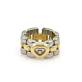 Chopard Happy Diamond 18K Yellow Gold & Stainless Steel with 0.05ct Diamond Heart Panther Flex Chain Band Ring Size 5.5