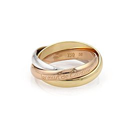 Cartier Trinity 18K Tricolor Gold Rolling Band Ring Size 7.5