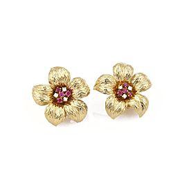 Tiffany & Co. 0.30ct. Diamond Ruby 18K Yellow Gold Flower Post Clip Earrings