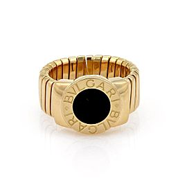 Bulgari Tubogas 18K Yellow Gold with Onyx Circle Top Band Ring Size 7