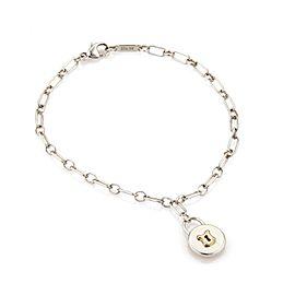 Tiffany & Co. 925 Sterling Silver & 18K Rose Gold Padlock Charm Chain Bracelet
