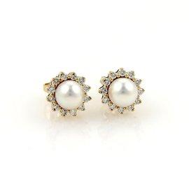 Tiffany & Co. 18K Yellow Gold 0.24ctw. Diamond & Pearl Stud Earrings