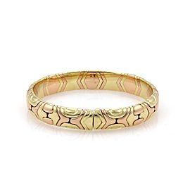 Bulgari Parentesi 18K Yellow & Rose Gold Dome Flex Cuff Band Bracelet