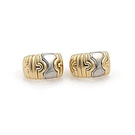 Bulgari Parentesi 18K Yellow Gold & Stainless Steel Wide Post Clip Earrings