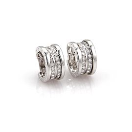 Bulgari B Zero-1 18K White Gold with 0.85ct Diamond Wide Huggie Earrings