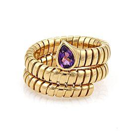 Bulgari Tubogas 18K Yellow Gold with 1.00ct Amethyst Wrap Band Ring