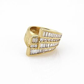 Charles Krypell 18K Yellow Gold with 2.70ct Diamond Double Ribbon Band Ring Size 5.5
