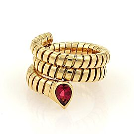 Bulgari Tubogas 18K Yellow Gold with 1ct Pink Tourmaline Wrap Band Ring