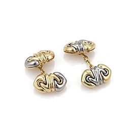 "Bulgari ""Doppio Cuore"" 18K Yellow Gold & Stainless Steel Chain Cufflinks"