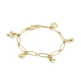 Tiffany & Co. Peretti 18K Yellow Gold 5 Charms Oval Link Chain Bracelet