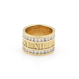 Tiffany & Co. Atlas 18K Yellow Gold with 1.40ct Diamond Roman Numeral Band Ring Size 4.5