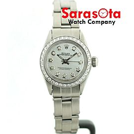 Rolex Oyster Perpetual 6616 MOP Diamond Dial & Bezel Stainless Auto Womens Watch