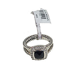 David Yurman Sterling Silver with Black Onyx and 0.17ctw Diamond Albion Ring Size 6