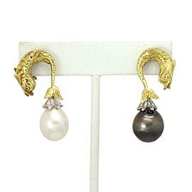 18k Yellow Gold Diamond Cultured Pearl Fish Earrings