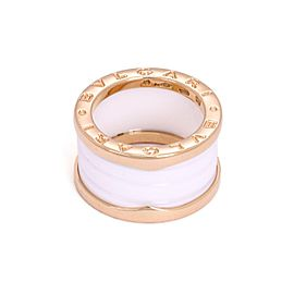 Bulgari Bulgari B Zero-1 18k Pink Gold White Ceramic Band Ring Size 4.5
