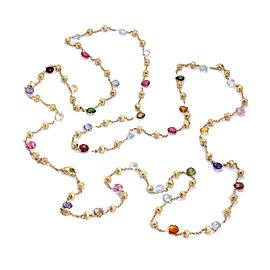 Marco Bicego Paradise Multi-Color Sapphire Gems 18k Gold Beaded Necklace