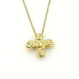 Tiffany & Co. Spiro 18k Yellow Gold Cross Pendant & Chain