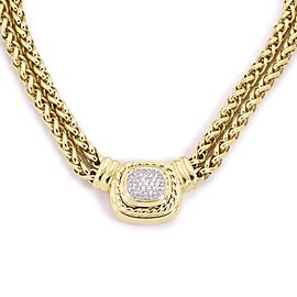 David Yurman Albion Diamond 18k Yellow Gold Pendant Double Chain Necklace