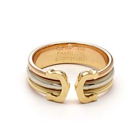 Cartier Double C 18k Tri-Color Ring Size 5.75