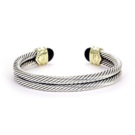 David Yurman 14K Yellow Gold, Sterling Silver Onyx Bracelet