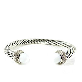 David Yurman Cable Candy Sterling Silver White Agate, Diamond Bracelet