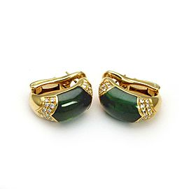 Bulgari 18K Yellow Gold Diamond, Tourmaline Earrings