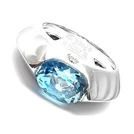 PIAGET 18K WHITE GOLD DIAMOND BLUE TOPAZ MODERN DOME RING, SIZE 54 US 6.75