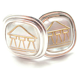 Temple St Clair 18k Yellow Gold Crystal MOP Temple Cufflinks