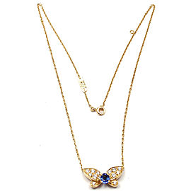 Authentic! VAN CLEEF ARPELS 18k Yellow Gold Diamond Sapphire Butterfly Necklace