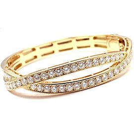Van Cleef & Arpels 18k Yellow Gold 4ct Diamond Bangle Bracelet