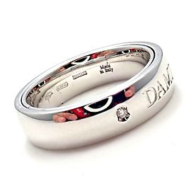 Damiani 18k White Gold 2 Diamond 5.5mm Double Band Ring Sz 7