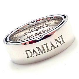 Damiani Brad Pitt 18k White Gold 10 Diamond Wide Band Ring Sz 7.5