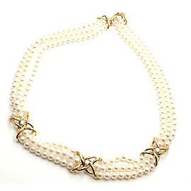 Tiffany & Co 18k Yellow Gold Diamond 3 Strand Pearl Necklace