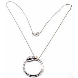 Damiani Infinito 18k White Gold Diamond Snake Pendant Necklace