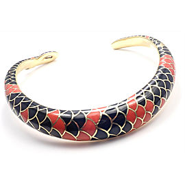 Authentic! Angela Cummings 18k Gold Red Black Coral Snakeskin Collar Necklace
