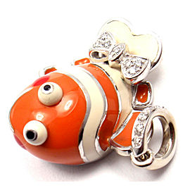 Aaron Basha 18k White Gold Diamond Clown Fish Charm Pendant Ret $7200