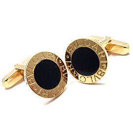 Bulgari Bvlgari 18k Yellow Gold Black Onyx Cufflinks