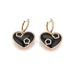 1.00ct Diamond Onyx 18k Rose Gold Hearts Drop Dangle Earrings