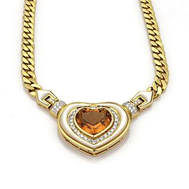 Vintage 16.75ct Diamond Citrine & Mother Of Pearl 18k Gold Heart Necklace