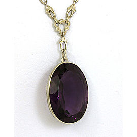 Art Deco 35 Carats Oval Cut Amethyst 14k White Gold Milgrain Fancy Necklace